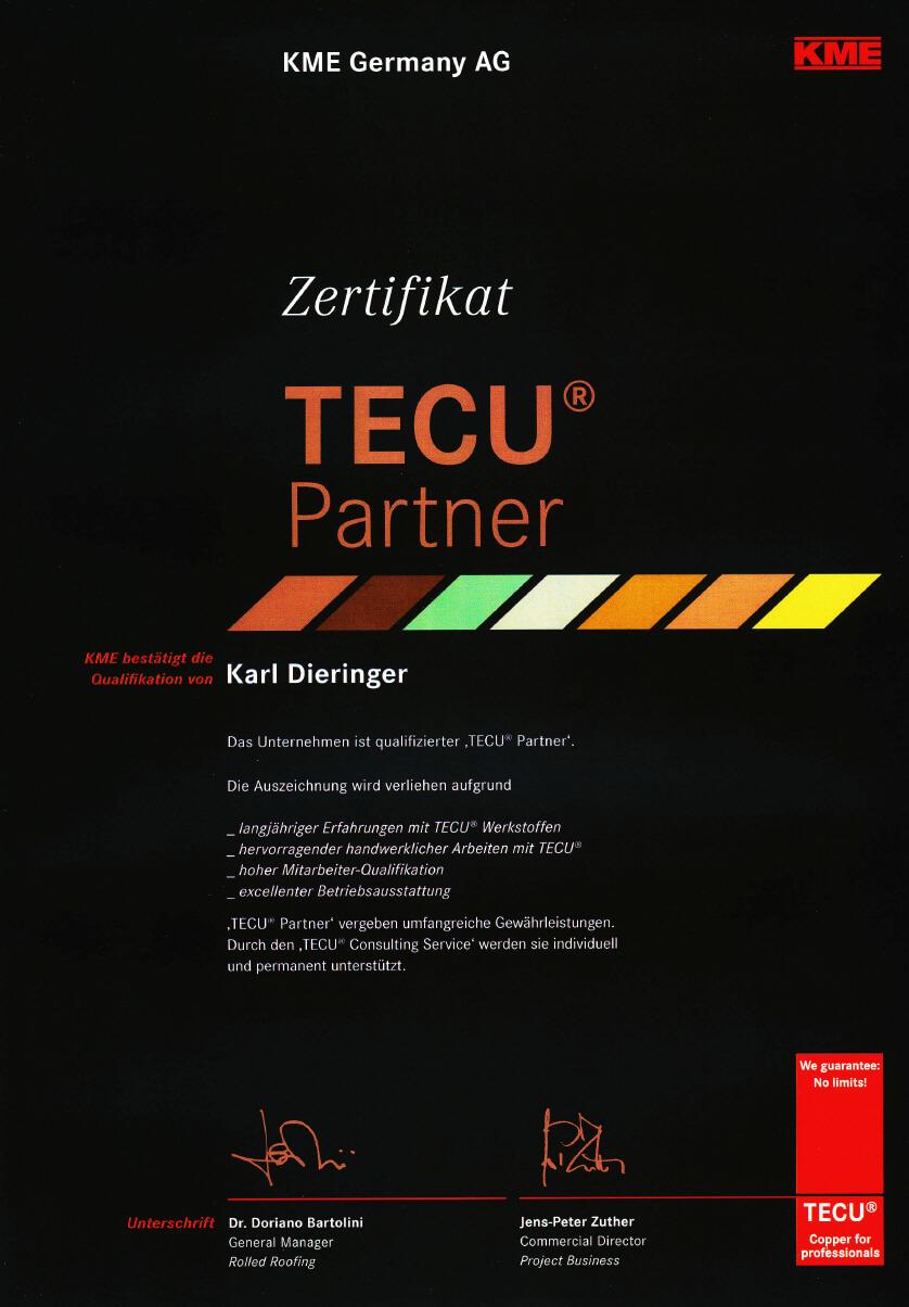 Zertifikat als TECU-Partner